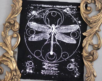 handprinted dragonfly backpatch occult