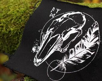handprinted patch skull occult