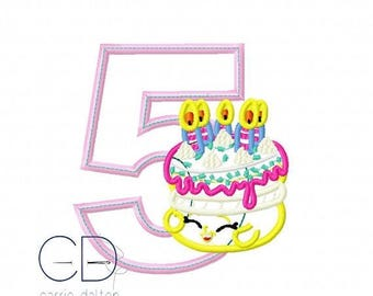 ON SALE Birthday Cake Embroidery Design, Birthday Cake Applique Design, Wishes Embroidery, Wishes Applique, 5th Birthday Embroidery