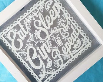 Gin Quote - Hand painted white acrylic on glass frame mounted in front of glitter background - house warming gift, decoration, Gin, G&T