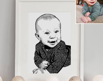 Framed - Custom Portrait - One Person - Hand drawn from photo, Hand Drawn Portraits , Custom Pen Drawing, Drawing with Pen, Pen Drawing