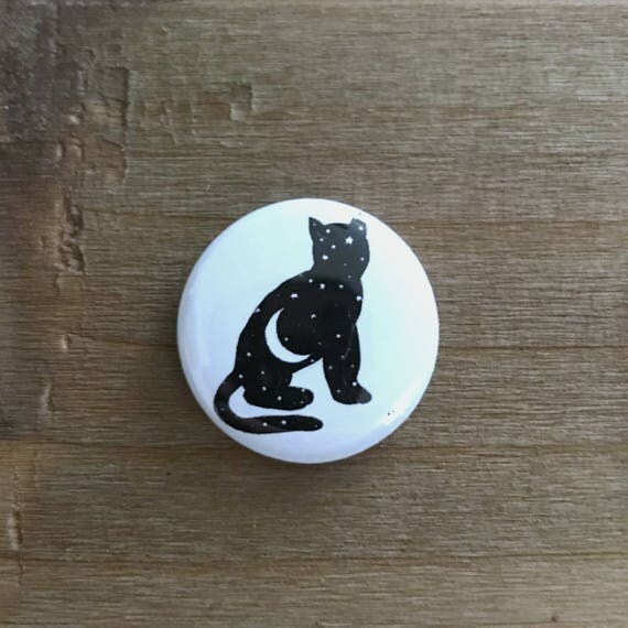 "1"" White and Black Moon Kitten Pin"