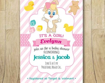 Printable Baby Looney Tunes Lola Bunny First Birthday Party Invitation,  Girl Baby Shower