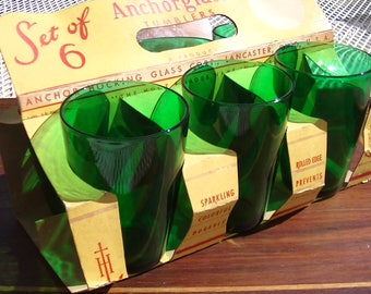 Vintage, New in carry out box, Set of 6 Anchor Hocking Forest Green Tumblers
