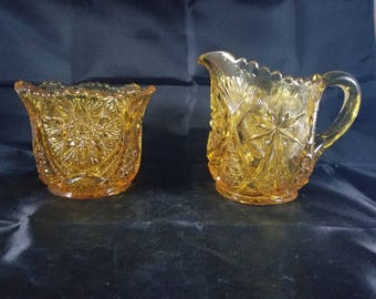 Vintage EAPG Golden  Amber Glass Sugar & Creamer