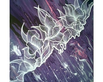 Purple Abstract 50x60cm acrylic painting with white flowers