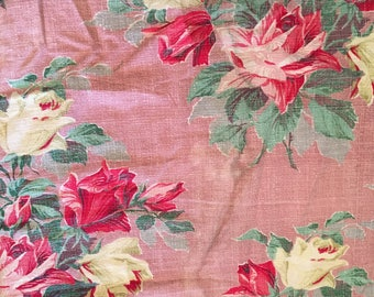 Vintage Fabric lot dusty pink red rose floral barkcloth  all AS/IS for sewing crafts scraps