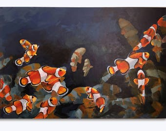 Original acrylic painting of Nemo sea fishes