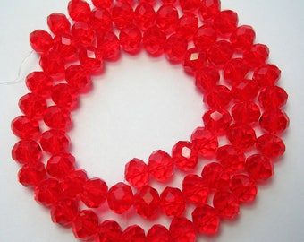 6x8mm Red Beads Faceted Crystal Glass Rondelle 16 inch Strand 70 beads 1mm Hole Size