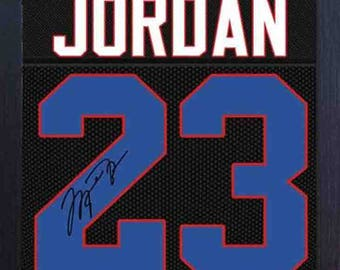 Michael Jordan Chicago Bulls signed autograph NBA Framed 100% COTTON Canvas 0333