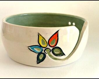 Ceramic Yarn Bowl, Knitting Bowl, Wool Bowl, Crochet Bowl, Pottery Yarn Bowl, Flower Wool Bowl, Yarn Bowl, Needlecrafts, Knitters Gift
