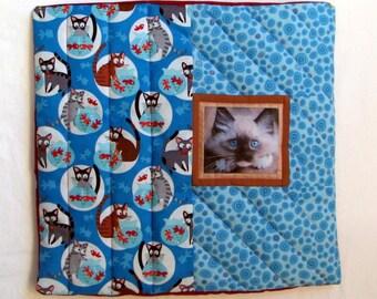 Handmade,Quilted Cat Pillow Sham & padded insert