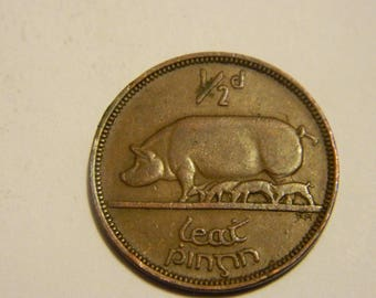 1942 Ireland Half (1/2) Penny Antique Vintage Irish Coin Beautiful Sow with Piglets #28
