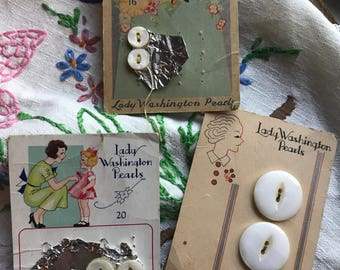 Three Lady Washingon Pearls 1930s mother of pearl button cards