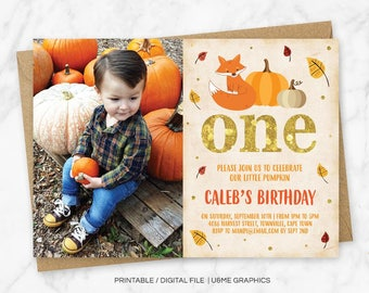 Fall Birthday Invitation, Pumpkin Birthday Invitation, Autumn Birthday, Fox First Birthday Invitation, Little Pumpkin Birthday, Digital File