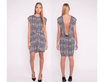 Open back dress, black / white print dress, detail dress, short dress, elegant dress, sleeveless dress,  viscose, dress to any occasion