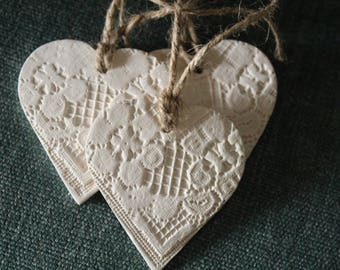 Three patchwork hearts