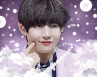 BTS Kim Taehyung, S-tae-rry Night Digital PRINT