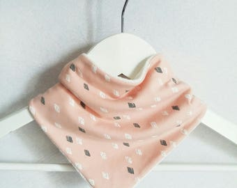 Pale pink bamboo and organic cotton bandana bib