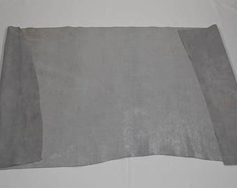 Coupon de cuir de vachette nubuck argenté pailleté