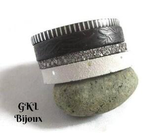 Bracelet manchette cuir noir/blanc argenté