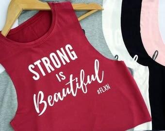 SALE! Workout Tank Top, Muscle Tank, Strong is Beautiful, Womens Workout Tank, Workout Shirt, Gym Tank Top, Fitness Tank, Yoga Top