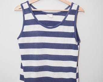 Vintage 1960's Paper Thin Navy Blue and White Sailor Striped Tank Top | Size Medium