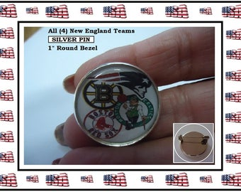 "Lapel Pin All (4) Teams On 1 Pin Boston Red Sox New England Patriots Boston Celtics Boston Bruins 1"" Silver Bezel Brooch Pin Sweet Gift"