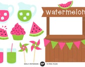50% OFF SALE! Watermelon Clip Art, Stand Clipart, Fruit Clip Art - Commercial Use, Instant Download - V1