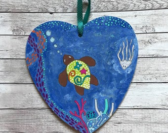 Turtle Under the Sea Hanging Heart