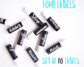 10ml Essential Oil Roller Bottle Labels with Cursive or Plain Font Options - 10 Labels - 29 Color Options - LABELS only