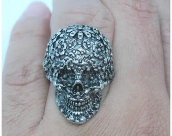 Skull Punk Silver Metal Ring Size 6