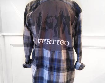U2 Flannel Tee U2 t shirt Vertigo concert tour t shirt unisex men's small new gray plaid flannel shirt brushed cotton
