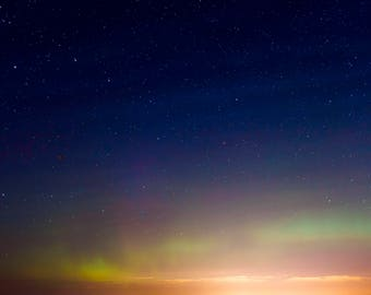 Northern Lights Fine Art Image, Aurora Borealis, Night Photography, Aurora Landscape Photo, Starry Night Sky Photo- Night Rainbow