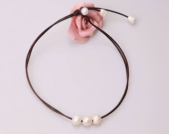 Three Pearls Choker Necklace, Two Strands Leather Jewelry,Pendant Necklace with Cultured Freshwater Pearls,Genuine Leather Adjustable Size