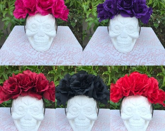 Rose flower crown, Frida headband, Mexican flower crown, Frida floral crown, Dia de los Muertos hairpiece, Day of the dead flower crown