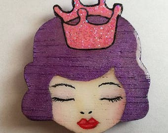 Wooden magnet painted with acrylic paint, Sunnymixedmedia