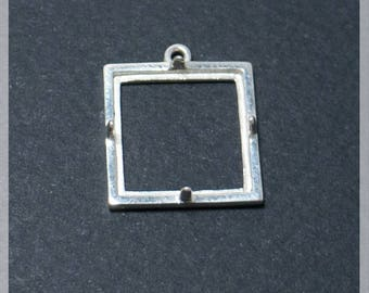 Square Bezel Pendant Setting 925 Sterling Silver Cabochon Square  Base 15х15 mm