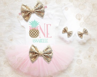 Pineapple 1st Birthday Outfit   Pineapple First Birthday Tutu Set   Pineapple First Birthday   Summer Birthday Outfit   Laau Birthday Shirt