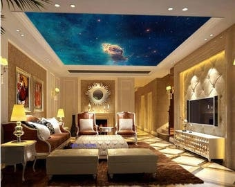 ceiling galaxy, ceiling wallpaper, nebula wall mural, ceiling nebula, STAR wall DECAL, space star wall mural, nebula  ceiling wallpaper
