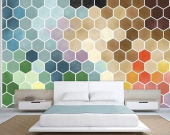 Honey Bees wallpaper, honey bees wall decal, watercolor hexagon wallpaper, Moroccan wallpaper, Moroccan wall decal, hexagon wall mural,