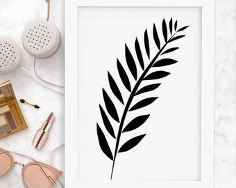 Black Printable Leaf Art, Leaf Print, Leaf Wall Art, Nordic Print, Scandinavian Print, Modern Print, Black Print, Wall Art, Instant Download