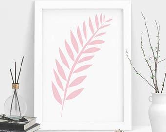 Pink Leaf Print, Leaf Wall Art, Pink Leaf Art, Nordic Print, Scandinavian Print, Modern Print, Pink Print, Wall Art, Instant Download