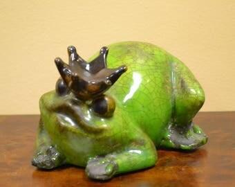 Ceramic Frog Prince Statue