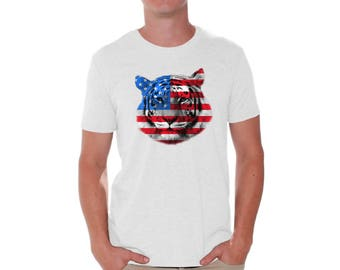 USA Flag Tiger Shirt T shirt Tops Independence Day Gift 4th of July Tiger Patriotic