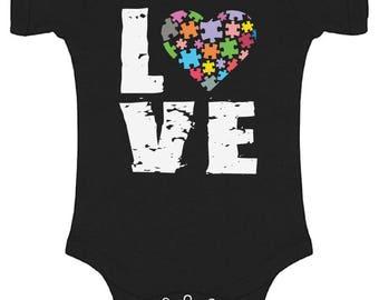 Autism Awareness Love Puzzles Baby Short Sleeve Bodysuits One Piece  Bodysuit Tops Autistic Support Puzzle Piece ASD Autism