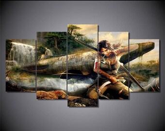 Native Canvas Art, Native Wall Art, Native Warrior 5 Piece Canvas print, Native Wall Decor, Native Wall Painting, Native Framed Canvas Art