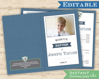 Baptism Program with Picture Editable PDF Boy CRT Navy Green Digital Print Baptism program Foldable Instant Download - Printable Folded