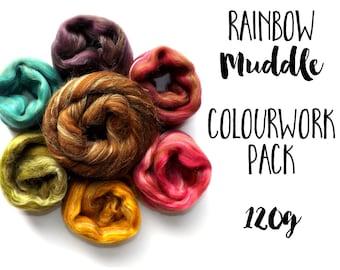 Colourwork pack - Rainbow Muddle blends - 120g - 4.23oz - Manx Loaghtan Merino wool - Silk - MUDDLE RAINBOW