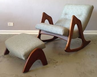 Adrian Pearsall Rocking Chair and Ottoman